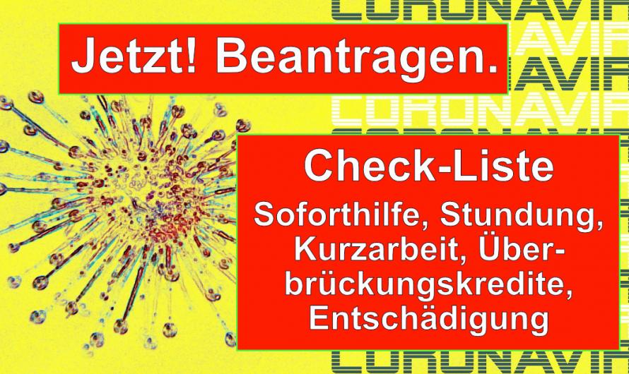 Corona Check-Liste für Unterneher:innen – Das sollten Sie jetzt tun! Soforthilfe beantragen!