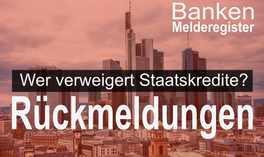 Banken-Melderegister – Hier sind die Meldungen aus ganz Deutschland. Verbesserungen versprochen.