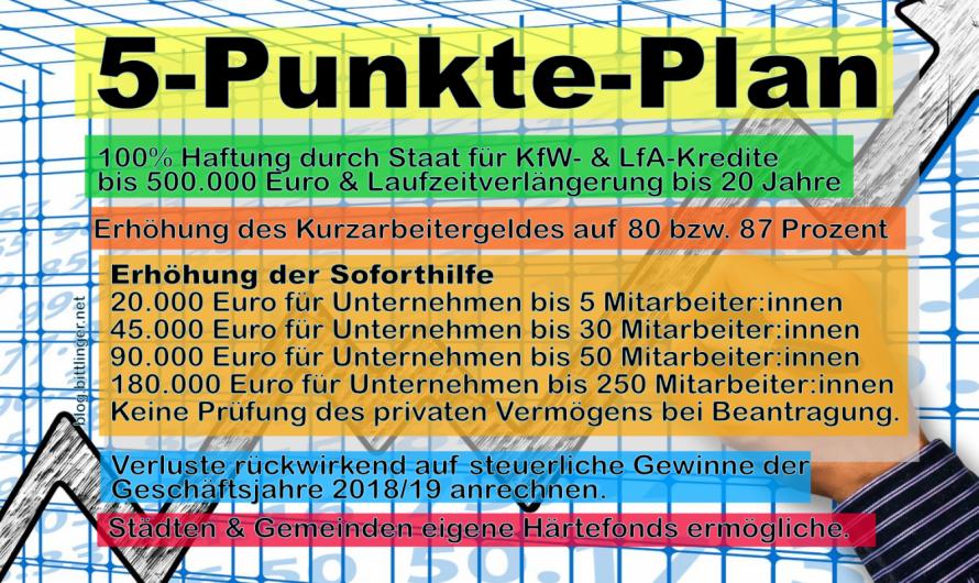 5-Punkte-Plan: Verbesserungsvorschlag für die staatlichen Sofort-Maßnahmen Corona. Höhere Sofort-Hilfe & Kurzarbeitergeld.